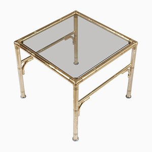 Mid-Century Gilt Metal and Smoked Glass Coffee Table by Jacques Adnet for Maison Baguès
