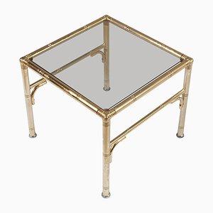 Tavolino Mid-Century in metallo dorato e vetro fumé di Jacques Adnet per Maison Baguès