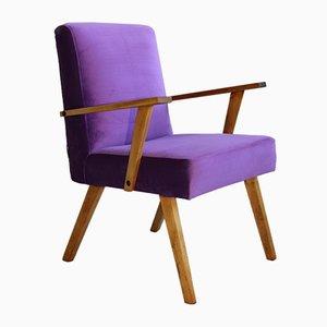 Vintage Purple Velvet Armchair, 1970s