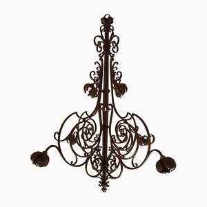 Lámpara de araña vintage grande de hierro forjado hecha a mano de A. Pezet