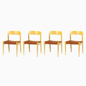 Nr. 75 Stühle von Niels Otto Møller für J.L. Møllers, 1960er, 4er Set