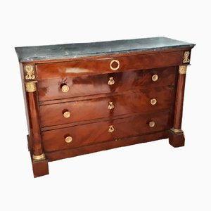 Empire Mahogany Dresser with Bronze and French Marble, 1820s