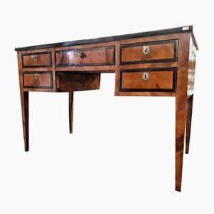 Antique Italian Cherry Wood with Ebony Fillets Louis XVI Desk, 1890s