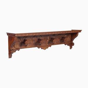 Appendiabiti vintage toscano rinascimentale in legno di noce intagliato di Michele Bonciani
