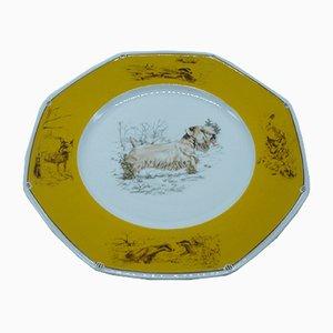 Plato Sealyham Terrier de porcelana de Hermès, años 80