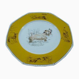 Sealyham Terrier Porcelain Plate from Hermès, 1980s