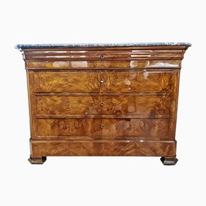 Antique Walnut, Palm Wood & French Marble Chest of Drawers, 1850s