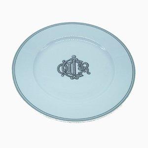 Piatto in porcellana con monogramma di Christian Dior, anni '70
