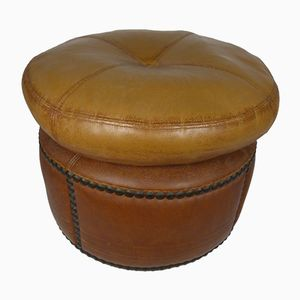 Spanish Leather Pouf, 1960s