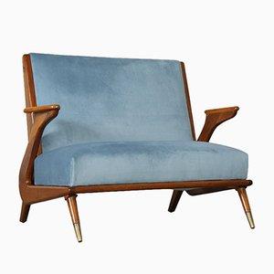 2-Sitzer Sofa aus gebeiztem Holz & Messing, 1950er