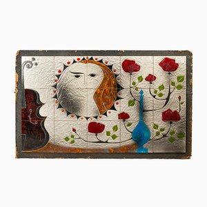 Französische Keramikfliese von G. Valentin, 1970er