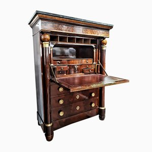 Antique Mahogany Palm Wood, Leather, Bronze & Marble Secretaire, 1830s