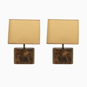 Amber Lacquer Table Lamps by Guy Lefevre for Maison Jansen, 1970s, Set of 2