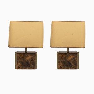 Lámparas de mesa lacadas en ámbar de Guy Lefevre para Maison Jansen, años 70, Juego de 2