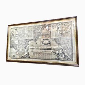 Grabado del mapa de Nápoles antiguo, década de 1890