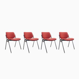 Red & Black DSC 106 Chairs by Giancarlo Piretti for Castelli, 1980s, Set of 4