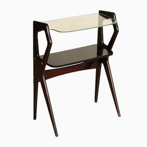 Consolle piccola in legno ebanizzato e vetro, anni '50