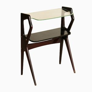 Small Ebonized Wood & Glass Console, 1950s