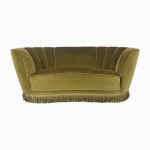 Vintage Danish Olive Green Velvet Banana Sofa