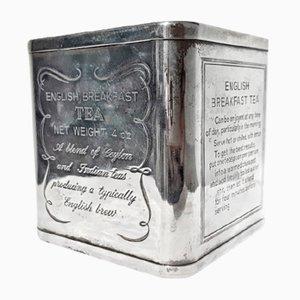 Caja para el té inglesa antigua de plata 925, década de 1900