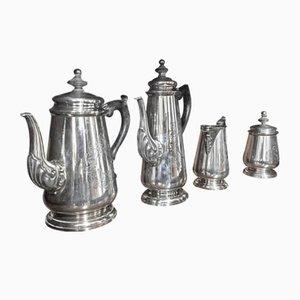 English 800 Silver Tea Set, 1890s
