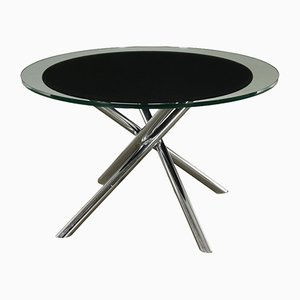 Vintage Italian Glass and Chromed-Metal Table