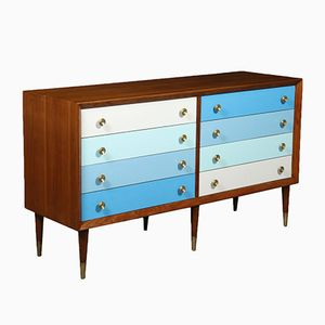 Mahogany Veneer Formica Brass Chest of Drawers, 1950s