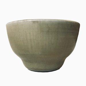 Cuenco de cerámica verde de Edith Sonne para Saxbo, años 50
