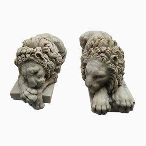 Figuras de leones antiguas de mármol, años 10, Juego de 2