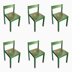 Stackable Green Dining Chairs by Carl Auböck for E. & A. Pollak, 1956, Set of 6