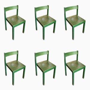 Stapelbare grüne Esszimmerstühle von Carl Auböck für E. & A. Pollak, 1956, 6er Set