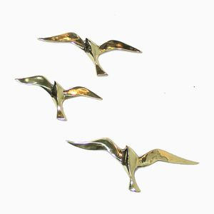 Pájaros Mid-Century de bronce de Superbrass, Juego de 3