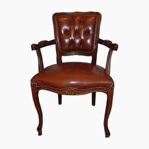 Chaise Vintage en Bois & en Cuir