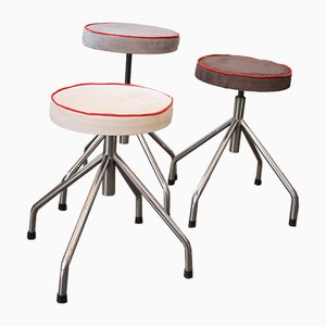 Height-Adjustable Industrial Stools, 1970s, Set of 3