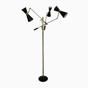 Brass & Black Lacquered Triennale Floor Lamp, 1950s