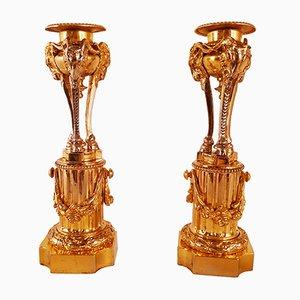 Antike vergoldete Kerzenständer aus Bronze, 2er Set