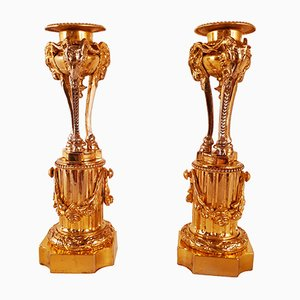 Portacandela antichi in bronzo dorato, set di 2