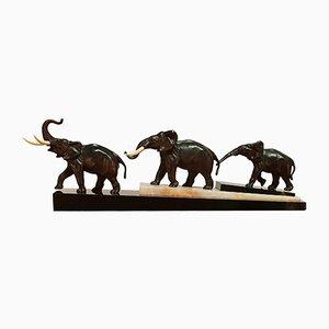 Escultura Art Déco de tres elefantes en base de mármol de Irenée Rochard