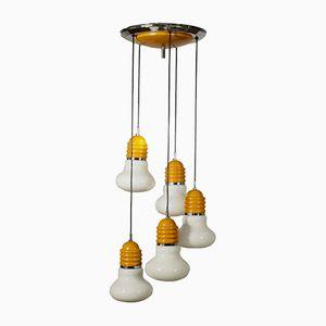 Plafonnier 5 Ampoules Vintage en Métal et en Verre