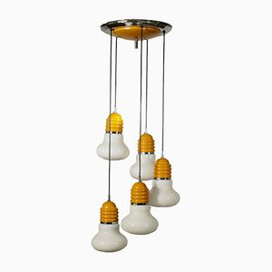 Vintage Five-Bulb Metal and Glass Ceiling Lamp