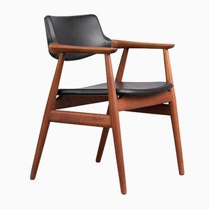 Chaise en Teck & en Cuir par Erik Kirkegaard pour Høng Stolefabrik, Danemark, 1950s