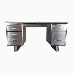 Industrielle Vintage Doppelsäulen-Schreibtisch aus Edelstahl