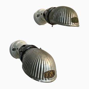 Vintage Wandlampen aus Porzellan & Quarzglas, 2er Set