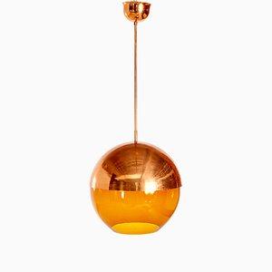 Lámpara colgante ámbar con pantalla semiesférica de cobre, años 50