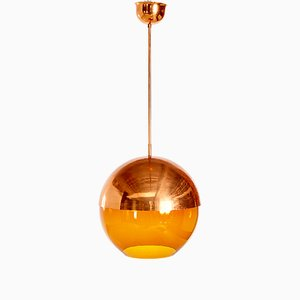 Vintage Amber Pendant with Hemispherical Copper Shade, 1950s