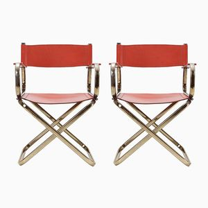 Mid-Century Directors Chairs in Brass & Red Leather from Arrben, Set of 2