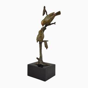 Art Deco Bronzeskulptur von 2 Vögeln auf einem Ast von Irenee Rochard, 1930