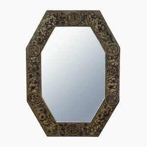 Specchio a muro Mid-Century in legno laccato e serigrafato di Piero Fornasetti, anni '50
