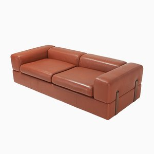 Vintage Minimalist Model 711 Cognac Leather Sofa or Daybed by Tito Agnoli for Cinova