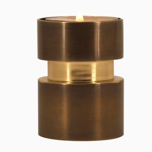 Patinated Brass Reversible Candle Holder for Taper & Tealight Candles by Alguacil & Perkoff Ltd, 2018